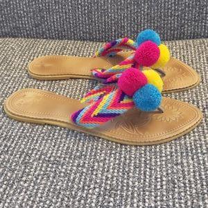 New Womens Pom Pom Sandal Flip Flop Shoe By Katico